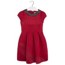 Mayoral Tween Girls 2T-9 Scarlet-Red Neoprene And Tweed Trim Social Dress