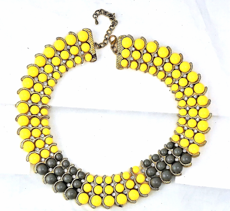Primary image for Multi Strand Beaded Collar Necklace Yellow Gray with Crystal/Rhinestones