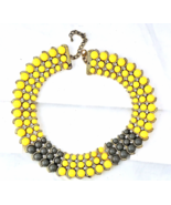 Multi Strand Beaded Collar Necklace Yellow Gray with Crystal/Rhinestones - $19.66