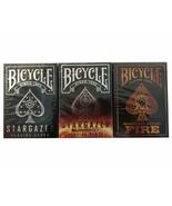 Set 3 Decks Bicycle Stargazer & Sunspot & Fire Standard Poker Playing Ca... - $14.99