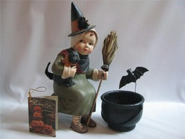 Little Girl Witch  Halloween Figurine Iron Cauldron Broom Black Cat  Bat - $47.47