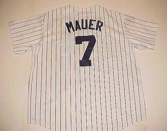 Primary image for Minnesota Twins Joe Mauer #7 MLB AL White Red Blue Pinstripe Vintage Jersey XL