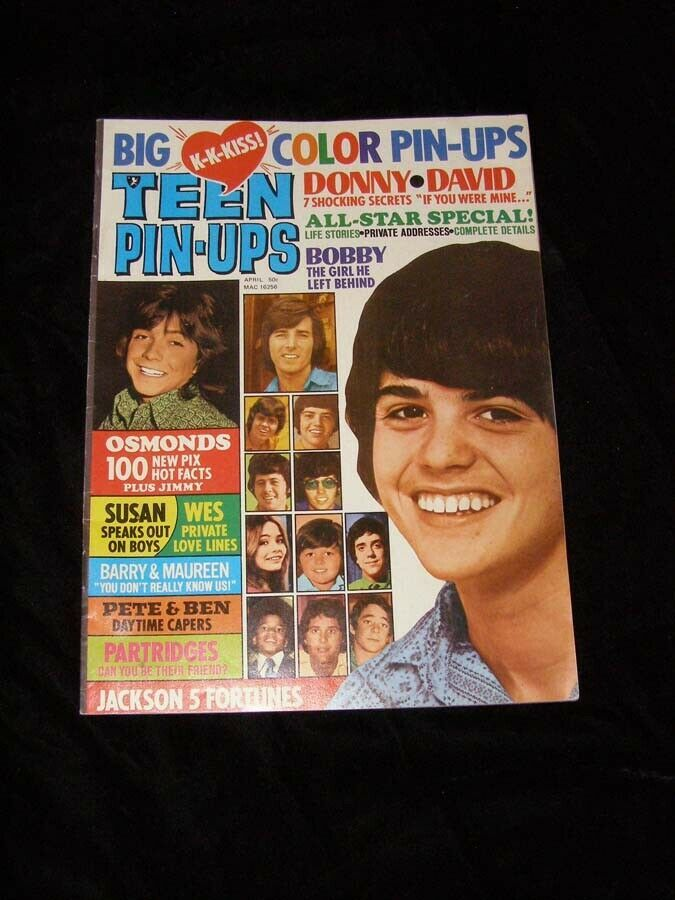 Primary image for Teen Pinups April 1972 The Osmonds Partridge Family David Cassidy Bobby Sherman