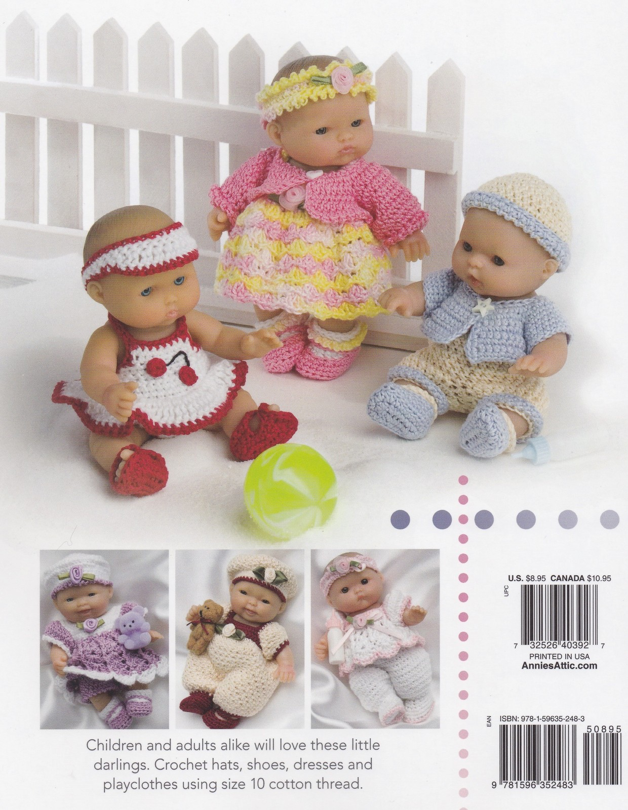 ... Itty Bitty Babies, Annie's Crochet Doll Clothes Pattern Booklet 879516  RARE NEW