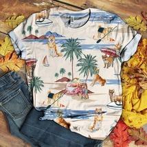 Unisex Hawaiian Shirt Full Print Shiba Inu Summer Beach 3D Shirt - £21.71 GBP
