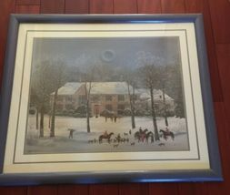 "Vintage Large Framed Matted 37""x 31"" Michel Delacroix Print La Chasse d'Hiver image 3"
