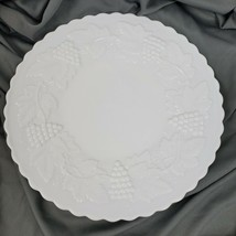 Vintage Mid Century Imperial White Milk Glass Grape Pattern Salad Plate ... - $14.40