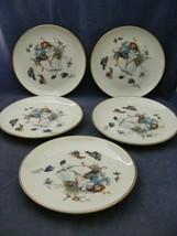 """5 Lovely Norman Rockwell China 7 3/8"""" Dessert Plates by Gorham Spring Duet - $19.95"""