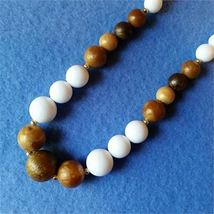 Vintage Beaded Necklace, faux wood and white plastic graduated beads  - $12.00