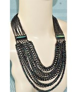8 Strand Iridescent Multi-Faceted Glass Bead And Chain Necklace AWESOME! - $59.18