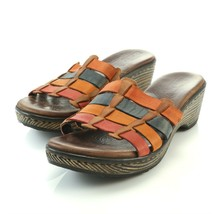 Born Lolo Multi Color Leather Strap Wedge Sandals Slides Shoes Womens 7 - $29.56