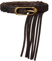Frye & Co Womens Black Braided Panel Fringe Tassel Suede Leather Belt Me... - $28.00