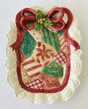 """Fitz & Floyd Christmas Quilt Canape Plate Appetizer Lacey Edge  & Bow FF 1992 9"""" - $18.86"""