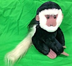 "Dakin Colobus Monkey Black White Fuzzy 8"" Tall Plush Stuffed Animal Vint... - $13.95"