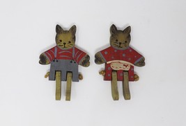 Vintage Set of 2 Handmade Wooden Bunny Rabbits with Moveable Legs - $23.74