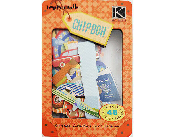 K&Company Happy Trails Words & Icons Chipboard Pieces, 48 Count