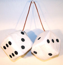 LARGE WHITE FUZZY HANGING DICE mirror fur car PLUSH die - $6.64