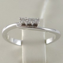 White Gold Ring 750 18k, Trilogy, 3 Diamonds Carat Total 0.08, with Wave image 2