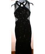 New NWT Badgley Mischka Dress Womens 8 Evening Gown Black Sequins Mesh C... - $270.00