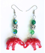 Judy Strobel Festive Vintage Plastic & Rhinestone Christmas Elephant Earrings - $17.95