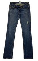 True Religion Women Size 28 (Meas 29x33) Straight Jeans Dark Distressed - $21.88