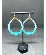 Neiman Marcus Beaded Pierced French Wire Earrings, Turquoise Blue, NWOT - $18.99