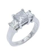 2.5 CARAT WOMENS 3-STONE PAST PRESENT FUTURE DIAMOND RING SQUARE CUT WHI... - $8,905.05