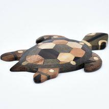 Northwoods Handmade Wooden Parquetry Sea Turtle Sculpture Figurine image 4