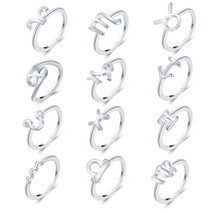 Fashion New Metal 12 Constellation Zodiac Sign Finger Rings Set For Wome... - £6.60 GBP