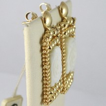 Silver Earrings 925 Yellow Gold Plated Hanging, Multi Wires, Nacre Flower image 2