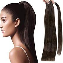 Fshine Wrap Around Ponytail Human Hair 18 Inch Color 2 Darkest Brown Ponytail Ex