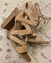 Sam Edelman Tan Open Toed Strappy Heels Pumps Suede Women's Size 8 Nice E4 - $19.79