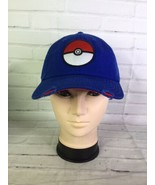 Pokemon Pokeball Logo Distressed Blue Adjustable Strapback Hat Cap Adult... - $34.64