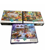 Lot 3 Buffalo Games Route 66 Potting Shed Winterland Fun 2000 Pcs Puzzles - $36.62