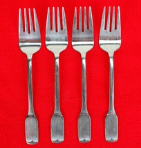 "4X Salad / Dessert Forks FB Rogers Stainless Flat Square Flatware 6 1/8""... - $38.61"