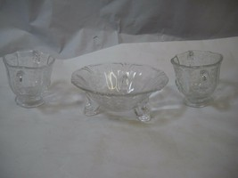VINTAGE 2 CREAMER and Sugar cups Candy Dish Glass FLORAL PATTERN Etched - $54.44