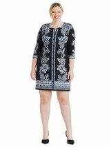 Sandra Darren Womens Dress 14 Blue Floral Print Shift Keyhole Scoop Neck A3-05P image 1