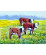 Original Acrylic Aceo Painting white face herefords  ~Artist P. Conyers - $5.00