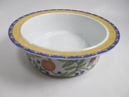 "Dansk Fiance Fruits Cereal Fruit Sauce Bowl/s  6 3/4"" Orange Rim Pristine - $9.89"