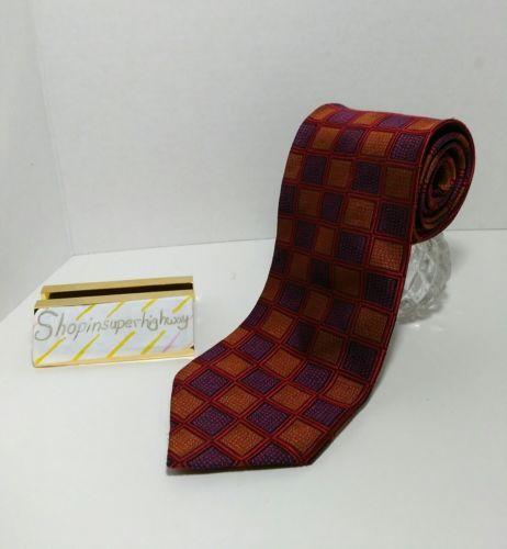 Kenneth Roberts Platinum men's tie purple gold red geometric design