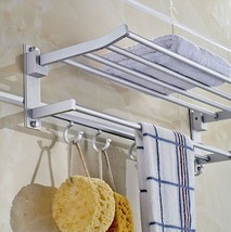 Bath Towel Shelf Bathroom Wall Mounter Hanging Rack Aluminum Storage Org... - $41.19