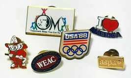 6 Vintage Lapel Pins 1988 Usa Olympics Badger Fire Fighter And More See Photos