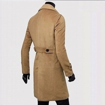 Fashion men leisure long coat wool overcoat image 2