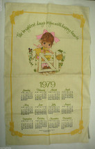 1979 Calendar Gibson Greeting Cards Linen Kitchen Towel Little Girl - $12.74