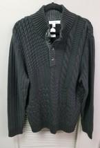 Men's Calvin Klein Black Woven Knit 3/4 Button-Down Sweater - $26.44