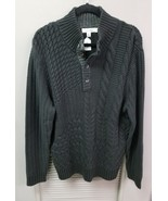 Men's CALVIN KLEIN Black Woven Knit 3/4 Button-Down SWEATER - $26.44