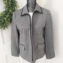Talbots Wool Herringbone Zip Up Womens Coat Jacket Size 12P - $29.69