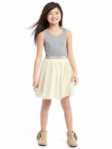 New Gap Kids Girl Tulle Skirt Ribbed Tank Striped Shimmer Gray Ivory Dre... - $26.99