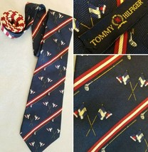 Tommy Hilfiger Neck TIE Navy Blue Flags Golf Clubs Red 100% Silk Italy  - $17.45
