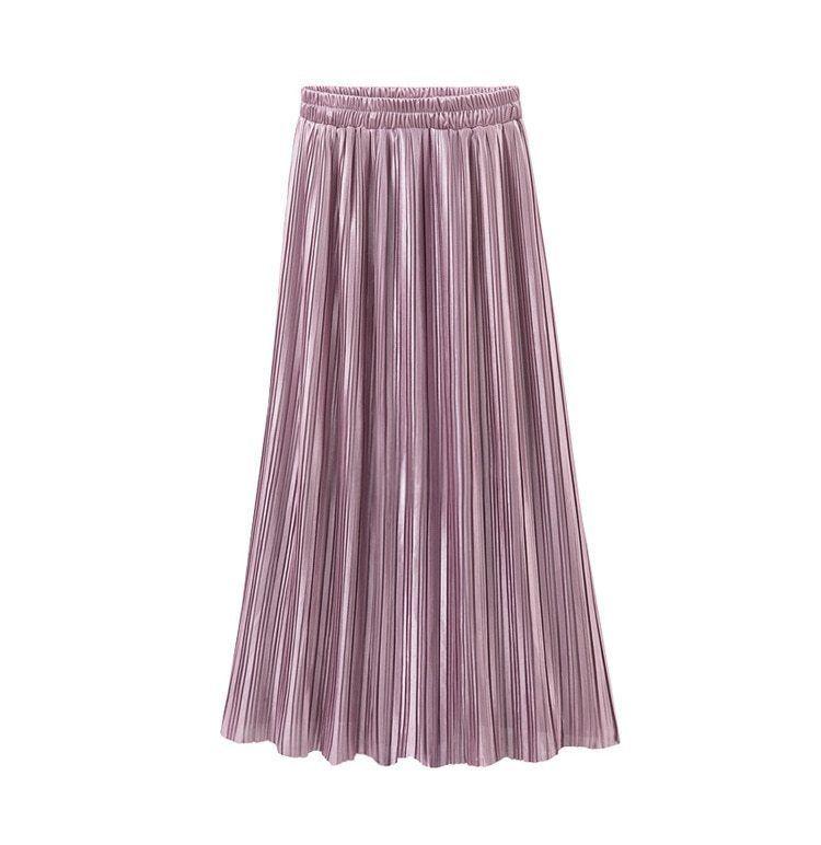 Silver Gold Pleated Skirt Vintage High Waist Long Metallic image 4